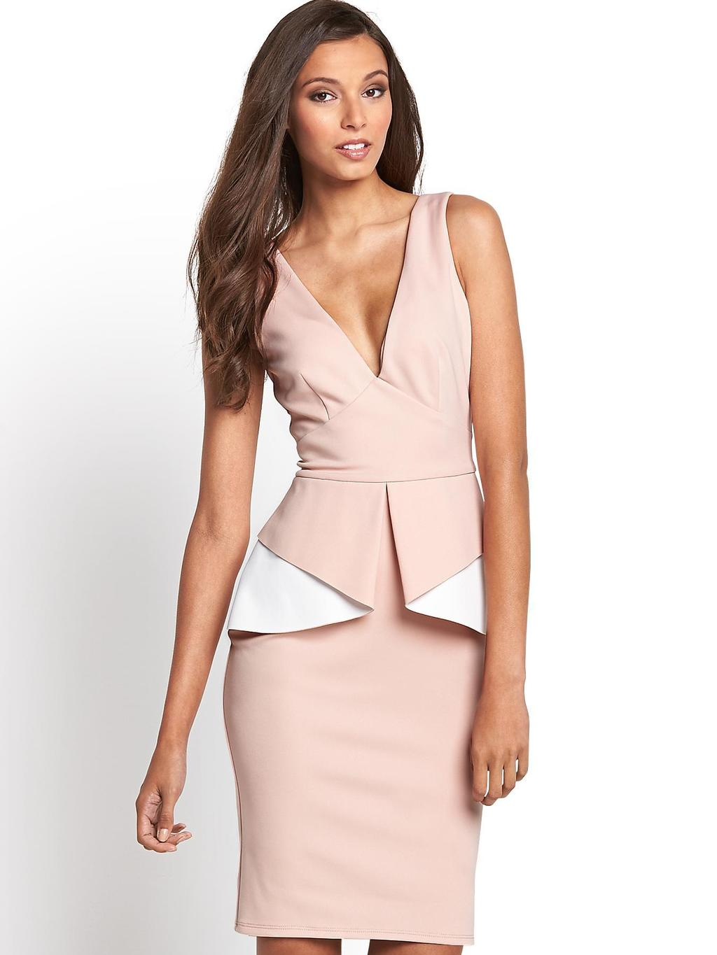 Peplum Scuba Dress, Pink - style: shift; neckline: plunge; fit: tight; sleeve style: sleeveless; waist detail: peplum waist detail; secondary colour: white; predominant colour: blush; occasions: evening, occasion; length: just above the knee; fibres: polyester/polyamide - 100%; sleeve length: sleeveless; texture group: crepes; hip detail: ruffles/tiers/tie detail at hip; pattern type: fabric; pattern size: standard; pattern: colourblock; trends: sorbet shades; season: s/s 2014
