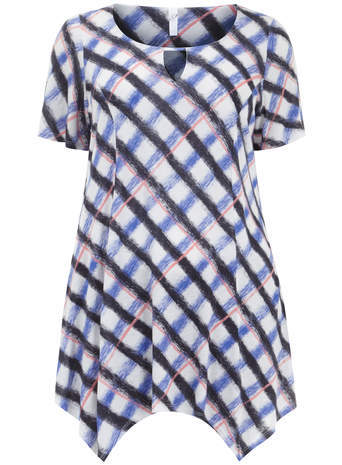 Ivory & Blue Check Hanky Hem Top - pattern: checked/gingham; length: below the bottom; occasions: casual, creative work; style: top; neckline: scoop; fibres: viscose/rayon - 100%; fit: loose; predominant colour: multicoloured; sleeve length: short sleeve; sleeve style: standard; pattern type: fabric; pattern size: standard; texture group: jersey - stretchy/drapey; season: s/s 2014; multicoloured: multicoloured