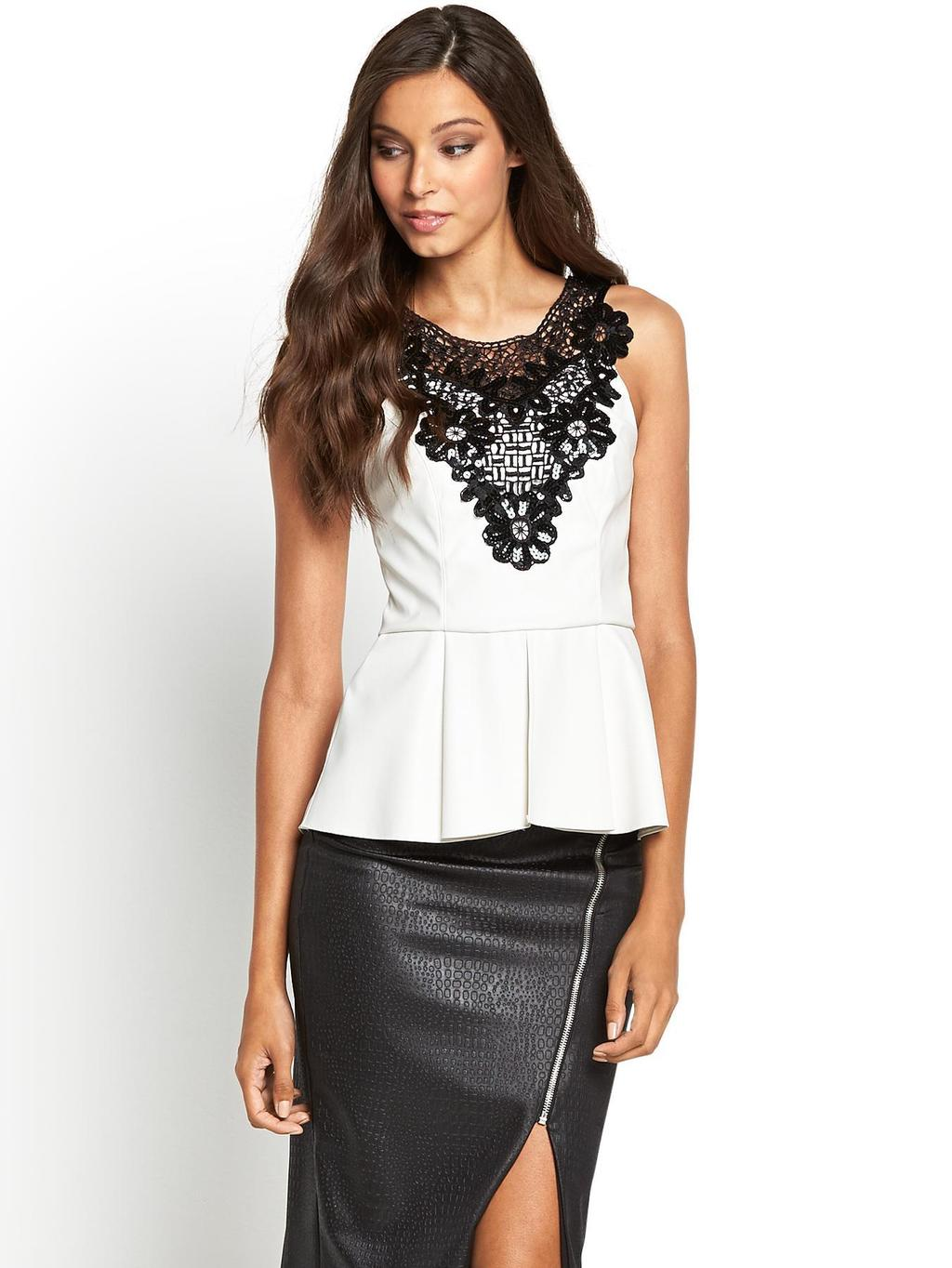 Michelle Keegan Cornelli Pu Peplum Top, Black - neckline: round neck; pattern: plain; sleeve style: sleeveless; waist detail: peplum waist detail; predominant colour: white; secondary colour: black; occasions: evening, work, occasion; length: standard; style: top; fit: tailored/fitted; sleeve length: sleeveless; texture group: leather; pattern type: fabric; pattern size: light/subtle; fibres: pvc/polyurethene - 100%; season: s/s 2014; trends: monochrome; embellishment: contrast fabric; embellishment location: bust, shoulder