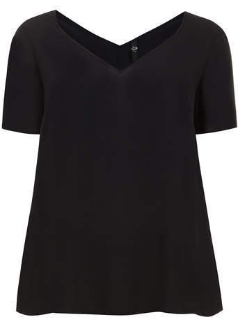 Black Short Sleeve Top - neckline: low v-neck; pattern: plain; predominant colour: black; occasions: casual, creative work; length: standard; style: top; fibres: polyester/polyamide - 100%; fit: loose; sleeve length: short sleeve; sleeve style: standard; texture group: crepes; pattern type: fabric; season: s/s 2014