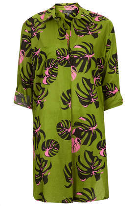 Amazonas Beach Shirt - neckline: shirt collar/peter pan/zip with opening; style: shirt; bust detail: buttons at bust (in middle at breastbone)/zip detail at bust; predominant colour: lime; secondary colour: black; occasions: casual, holiday; fibres: cotton - 100%; fit: straight cut; length: mid thigh; sleeve length: 3/4 length; sleeve style: standard; texture group: cotton feel fabrics; pattern type: fabric; pattern: patterned/print; season: s/s 2014; pattern size: big & busy (top)