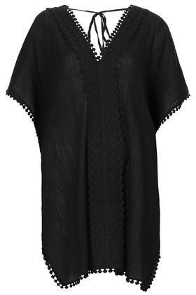 Mya Trim Kaftan - neckline: v-neck; sleeve style: dolman/batwing; pattern: plain; length: below the bottom; style: tunic; predominant colour: black; occasions: casual; fibres: cotton - 100%; fit: loose; sleeve length: short sleeve; texture group: cotton feel fabrics; pattern type: fabric; embellishment: lace; season: s/s 2014
