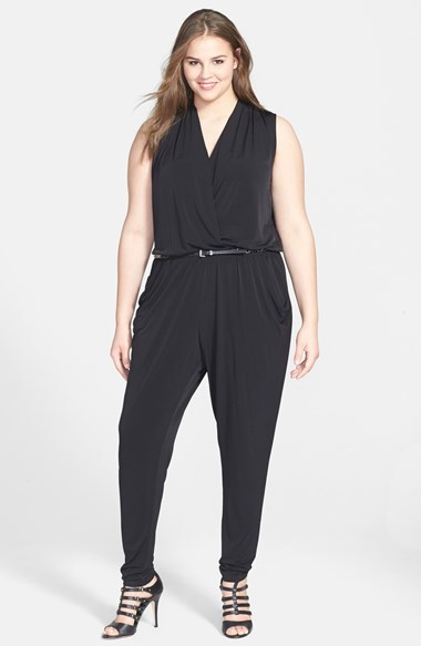 Belted Sleeveless Jersey Jumpsuit (Plus Size) - length: standard; neckline: v-neck; fit: fitted at waist; pattern: plain; sleeve style: sleeveless; waist detail: belted waist/tie at waist/drawstring; predominant colour: black; occasions: evening, creative work; fibres: polyester/polyamide - stretch; hip detail: subtle/flattering hip detail; sleeve length: sleeveless; style: jumpsuit; pattern type: fabric; texture group: jersey - stretchy/drapey; season: s/s 2014