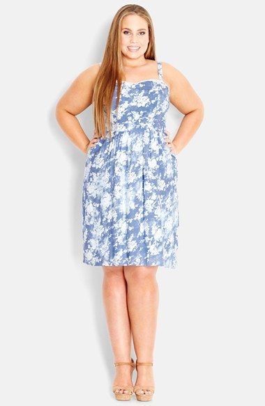Print Chambray Sundress (Plus Size) - sleeve style: spaghetti straps; fit: empire; style: sundress; neckline: sweetheart; waist detail: flattering waist detail; secondary colour: white; predominant colour: pale blue; occasions: casual; length: on the knee; fibres: viscose/rayon - 100%; sleeve length: sleeveless; texture group: denim; pattern type: fabric; pattern size: standard; pattern: patterned/print; season: s/s 2014