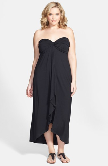 'santorini' Twist Front Strapless Maxi Dress (Plus Size) - length: below the knee; neckline: strapless (straight/sweetheart); fit: empire; pattern: plain; sleeve style: strapless; waist detail: twist front waist detail/nipped in at waist on one side/soft pleats/draping/ruching/gathering waist detail; bust detail: ruching/gathering/draping/layers/pintuck pleats at bust; predominant colour: black; occasions: casual, evening; style: asymmetric (hem); fibres: viscose/rayon - stretch; hip detail: soft pleats at hip/draping at hip/flared at hip; back detail: longer hem at back than at front; sleeve length: sleeveless; pattern type: fabric; texture group: jersey - stretchy/drapey; season: s/s 2014