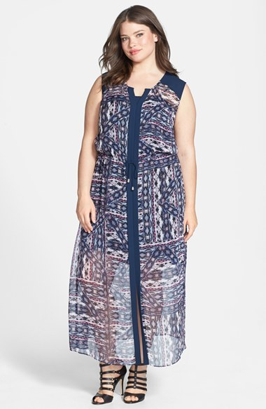 'tribal Patchwork' Maxi Dress (Plus Size) - neckline: v-neck; fit: fitted at waist; sleeve style: sleeveless; style: maxi dress; shoulder detail: contrast pattern/fabric at shoulder; waist detail: belted waist/tie at waist/drawstring; secondary colour: ivory/cream; predominant colour: navy; occasions: casual; length: floor length; fibres: polyester/polyamide - 100%; sleeve length: sleeveless; texture group: sheer fabrics/chiffon/organza etc.; pattern type: fabric; pattern size: standard; pattern: patterned/print; season: s/s 2014
