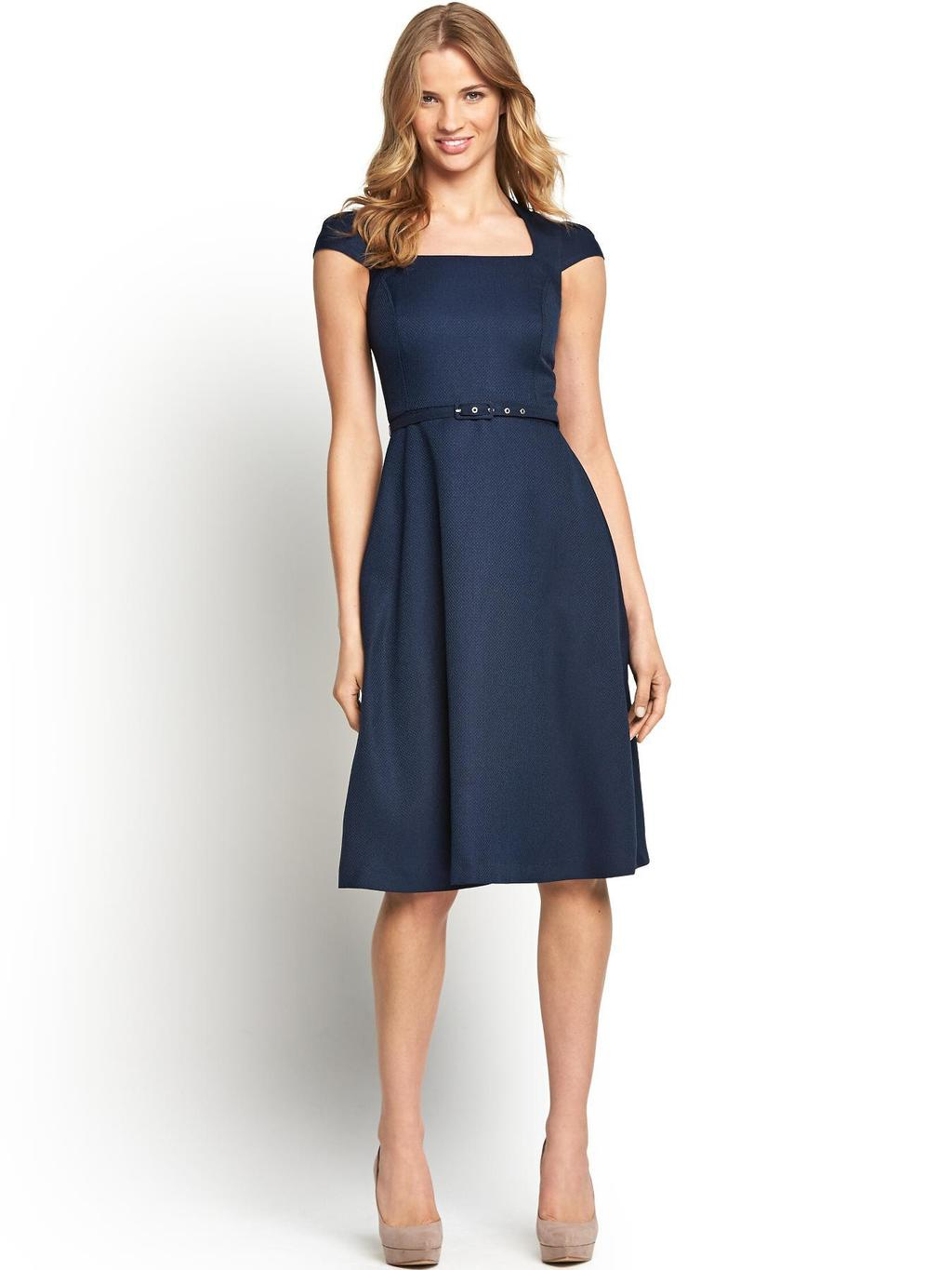 Petite Mix And Match Dress, Navy, Stone - sleeve style: capped; pattern: plain; waist detail: belted waist/tie at waist/drawstring; predominant colour: navy; occasions: evening, occasion; length: on the knee; fit: fitted at waist & bust; style: fit & flare; fibres: polyester/polyamide - 100%; hip detail: soft pleats at hip/draping at hip/flared at hip; sleeve length: short sleeve; neckline: low square neck; pattern type: fabric; texture group: other - light to midweight; season: s/s 2014