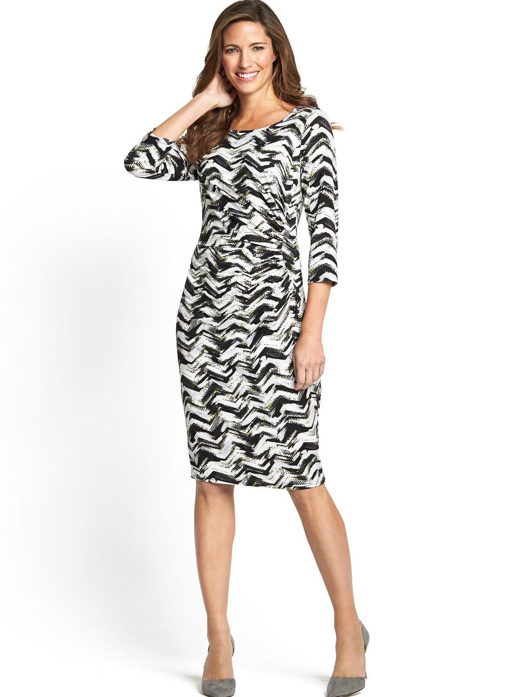 Gathered Length Mid Length Dress - neckline: round neck; fit: tight; style: bodycon; waist detail: flattering waist detail; secondary colour: white; predominant colour: black; occasions: casual, evening, occasion, creative work; length: on the knee; fibres: polyester/polyamide - stretch; sleeve length: 3/4 length; sleeve style: standard; texture group: jersey - clingy; pattern type: fabric; pattern size: standard; pattern: patterned/print; trends: art-party prints, monochrome; season: s/s 2014