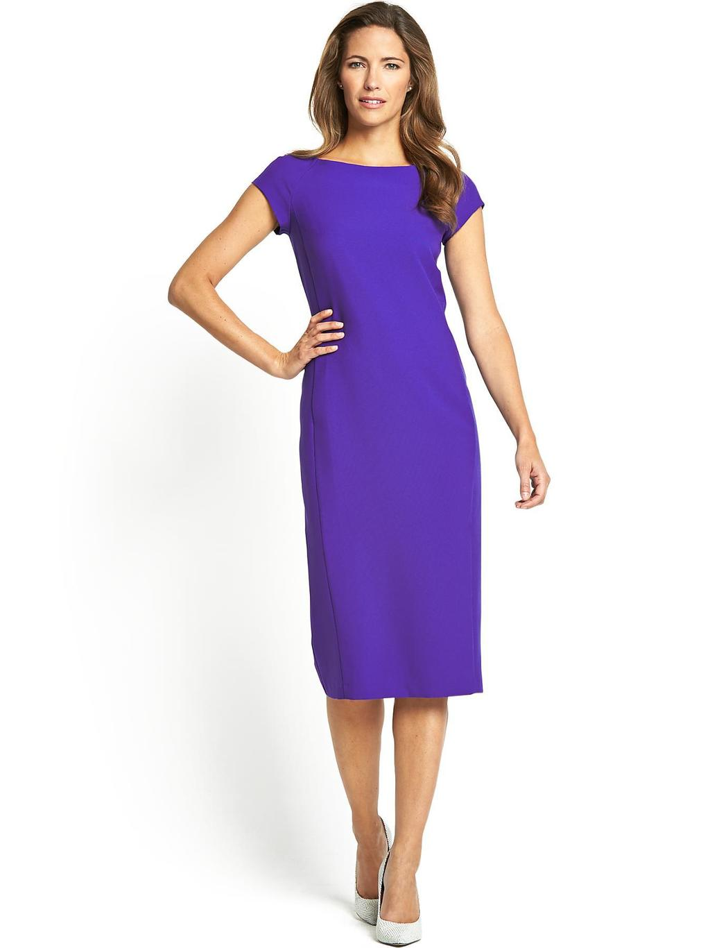 Simple Shift Dress, Red, Blue - style: shift; length: below the knee; neckline: slash/boat neckline; sleeve style: capped; fit: tailored/fitted; pattern: plain; predominant colour: royal blue; occasions: evening, occasion; fibres: polyester/polyamide - 100%; sleeve length: short sleeve; pattern type: fabric; texture group: other - light to midweight; season: s/s 2014