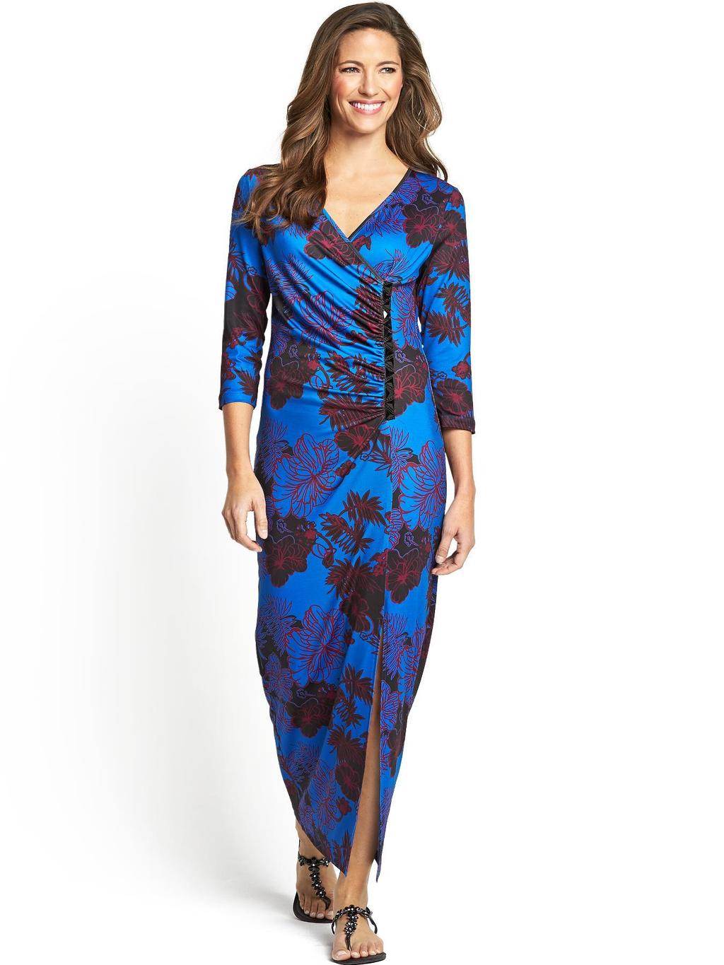 Formal Ity Maxi Dress - style: faux wrap/wrap; neckline: low v-neck; length: ankle length; hip detail: draws attention to hips; bust detail: subtle bust detail; predominant colour: royal blue; secondary colour: chocolate brown; occasions: evening, occasion; fit: body skimming; fibres: polyester/polyamide - stretch; sleeve length: 3/4 length; sleeve style: standard; pattern type: fabric; pattern size: standard; pattern: florals; texture group: jersey - stretchy/drapey; embellishment: studs; season: s/s 2014; wardrobe: event; embellishment location: waist