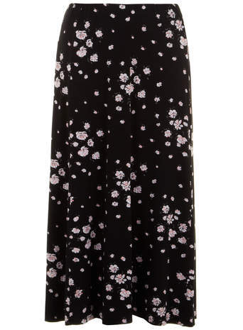 Black Floral Fit & Flare Maxi Skirt - length: ankle length; fit: loose/voluminous; waist: mid/regular rise; predominant colour: black; occasions: casual; style: maxi skirt; fibres: viscose/rayon - stretch; pattern type: fabric; pattern: florals; texture group: jersey - stretchy/drapey; season: s/s 2014; pattern size: standard (bottom)