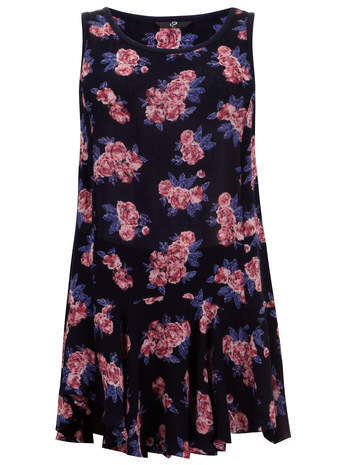 Navy Floral Flared Hem Top - neckline: round neck; sleeve style: sleeveless; length: below the bottom; secondary colour: pink; predominant colour: navy; occasions: casual; style: top; fibres: viscose/rayon - 100%; fit: loose; sleeve length: sleeveless; pattern type: fabric; pattern: florals; texture group: other - light to midweight; season: s/s 2014