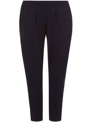 Navy Tapered Trousers - length: standard; pattern: plain; style: peg leg; waist: mid/regular rise; predominant colour: navy; occasions: casual, work, creative work; fibres: viscose/rayon - stretch; fit: tapered; pattern type: fabric; texture group: woven light midweight; season: s/s 2014