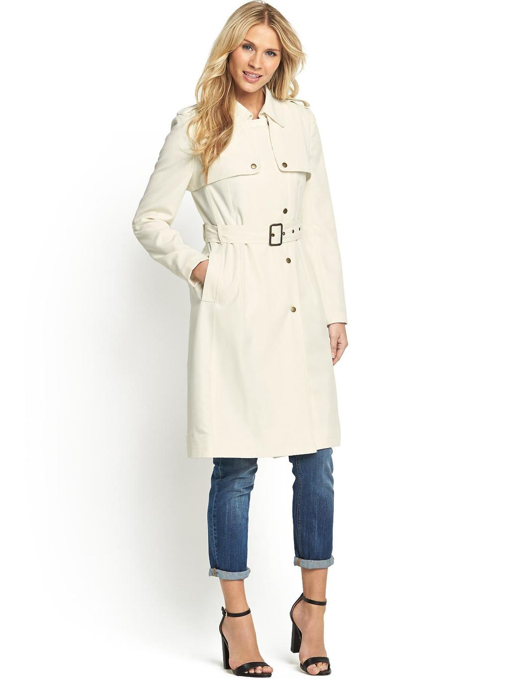 Luxury Belted Trench, Stone - pattern: plain; style: trench coat; length: on the knee; predominant colour: ivory/cream; occasions: casual, work, creative work; fit: tailored/fitted; fibres: cotton - stretch; collar: shirt collar/peter pan/zip with opening; waist detail: belted waist/tie at waist/drawstring; sleeve length: long sleeve; sleeve style: standard; collar break: high; pattern type: fabric; texture group: woven light midweight; season: s/s 2014