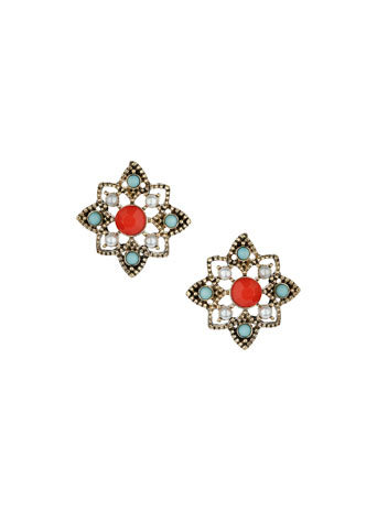 Red Stone Cut Out Studs - predominant colour: true red; secondary colour: pale blue; occasions: evening, occasion; style: stud; length: short; size: small/fine; material: chain/metal; fastening: pierced; finish: plain; embellishment: jewels/stone; season: s/s 2014