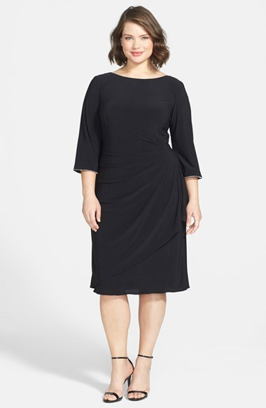Scoop Back Ruched Matte Jersey Dress (Plus Size) - style: shift; length: below the knee; neckline: slash/boat neckline; pattern: plain; waist detail: twist front waist detail/nipped in at waist on one side/soft pleats/draping/ruching/gathering waist detail; predominant colour: black; occasions: evening, work, creative work; fit: body skimming; fibres: polyester/polyamide - stretch; hip detail: soft pleats at hip/draping at hip/flared at hip; sleeve length: 3/4 length; sleeve style: standard; pattern type: fabric; texture group: jersey - stretchy/drapey; season: s/s 2014
