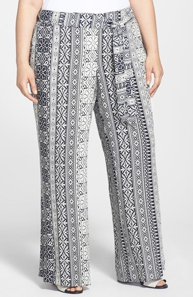 Print Wide Leg Pants (Plus Size) - length: standard; style: palazzo; waist detail: belted waist/tie at waist/drawstring; waist: mid/regular rise; predominant colour: charcoal; occasions: casual, evening, creative work; fibres: viscose/rayon - 100%; fit: wide leg; pattern type: fabric; pattern: patterned/print; texture group: other - light to midweight; season: s/s 2014; pattern size: big & busy (bottom)
