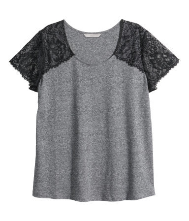 + Top In A Linen Blend - neckline: round neck; sleeve style: raglan; style: t-shirt; predominant colour: mid grey; secondary colour: black; occasions: casual; length: standard; fibres: linen - mix; fit: loose; sleeve length: short sleeve; pattern type: fabric; pattern size: standard; pattern: colourblock; texture group: jersey - stretchy/drapey; season: s/s 2014; embellishment: contrast fabric; embellishment location: shoulder
