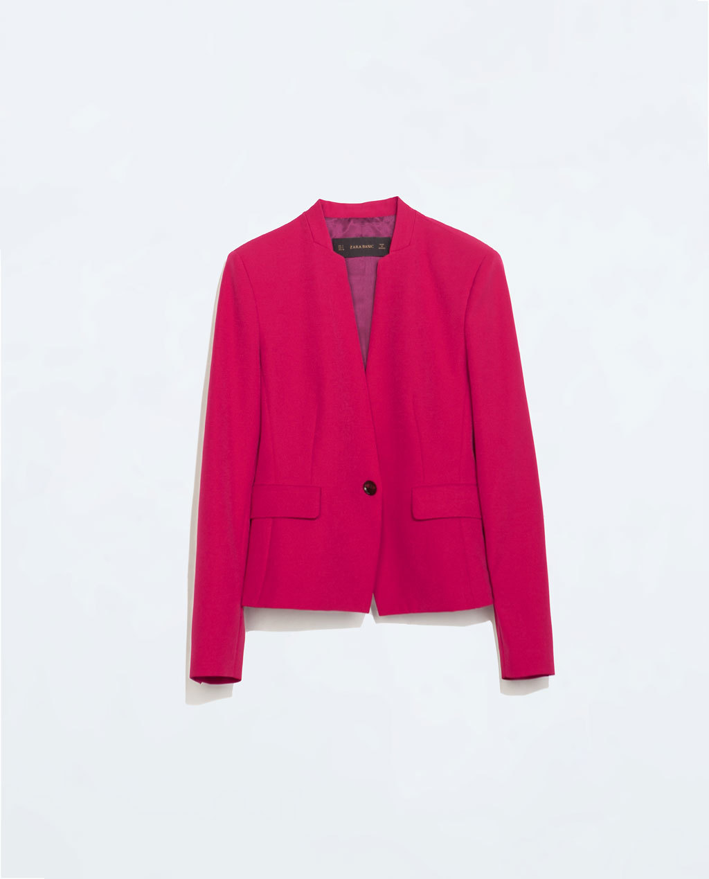 Blazer With Zips - pattern: plain; style: single breasted blazer; collar: round collar/collarless; predominant colour: hot pink; occasions: evening, creative work; length: standard; fit: tailored/fitted; fibres: polyester/polyamide - stretch; sleeve length: long sleeve; sleeve style: standard; texture group: crepes; collar break: low/open; pattern type: fabric; season: s/s 2014