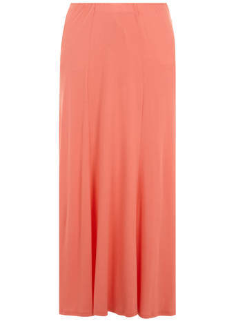 Coral Fit & Flare Maxi Skirt - pattern: plain; length: ankle length; fit: loose/voluminous; waist: mid/regular rise; predominant colour: coral; occasions: casual, holiday; style: maxi skirt; fibres: viscose/rayon - stretch; hip detail: subtle/flattering hip detail; waist detail: feature waist detail; pattern type: fabric; texture group: jersey - stretchy/drapey; season: s/s 2014