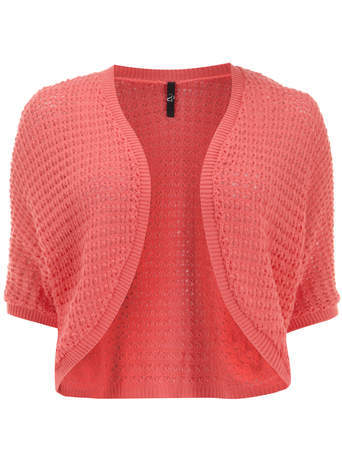 Coral Open Knit Textured Shrug - pattern: plain; style: bolero/shrug; length: cropped; neckline: collarless open; predominant colour: coral; occasions: casual, occasion, creative work; fibres: acrylic - mix; fit: standard fit; sleeve length: short sleeve; sleeve style: standard; texture group: knits/crochet; pattern type: knitted - big stitch; season: s/s 2014