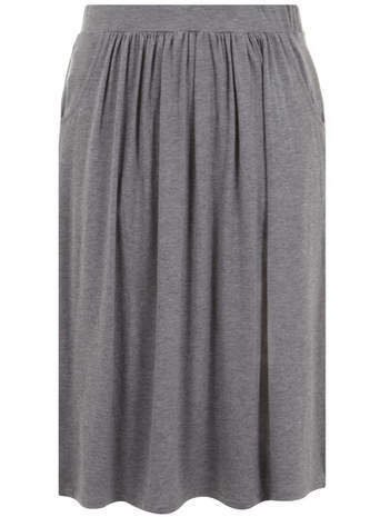Grey Marl Pocket Midi Skirt - length: below the knee; pattern: plain; style: full/prom skirt; fit: loose/voluminous; waist: mid/regular rise; predominant colour: mid grey; occasions: casual, work, creative work; fibres: viscose/rayon - stretch; hip detail: subtle/flattering hip detail; waist detail: feature waist detail; pattern type: fabric; texture group: jersey - stretchy/drapey; season: s/s 2014