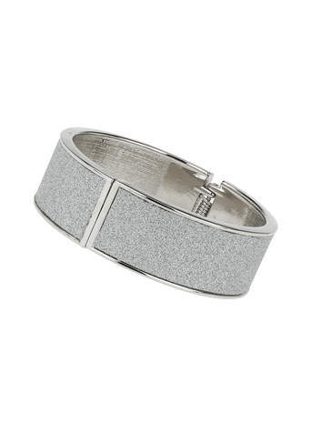 Silver Glitter Clamp Bracelet - predominant colour: silver; occasions: casual, evening, occasion; style: bangle/standard; size: standard; material: chain/metal; finish: metallic; embellishment: glitter; season: s/s 2014