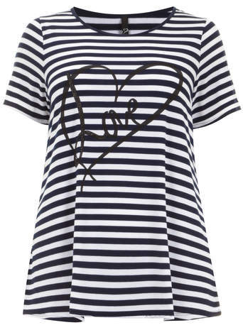 Navy & White Love Heart T Shirt - neckline: round neck; pattern: horizontal stripes; length: below the bottom; style: t-shirt; secondary colour: white; predominant colour: navy; occasions: casual; fibres: polyester/polyamide - stretch; fit: loose; sleeve length: short sleeve; sleeve style: standard; pattern type: fabric; texture group: jersey - stretchy/drapey; season: s/s 2014; pattern size: big & busy (top)