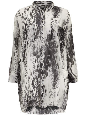 Carmakoma Black & White Smudge Print Shirt - neckline: shirt collar/peter pan/zip with opening; style: shirt; secondary colour: white; predominant colour: black; occasions: casual, creative work; fibres: viscose/rayon - 100%; fit: loose; length: mid thigh; back detail: longer hem at back than at front; sleeve length: long sleeve; sleeve style: standard; pattern type: fabric; pattern: patterned/print; texture group: other - light to midweight; season: s/s 2014; pattern size: big & busy (top)
