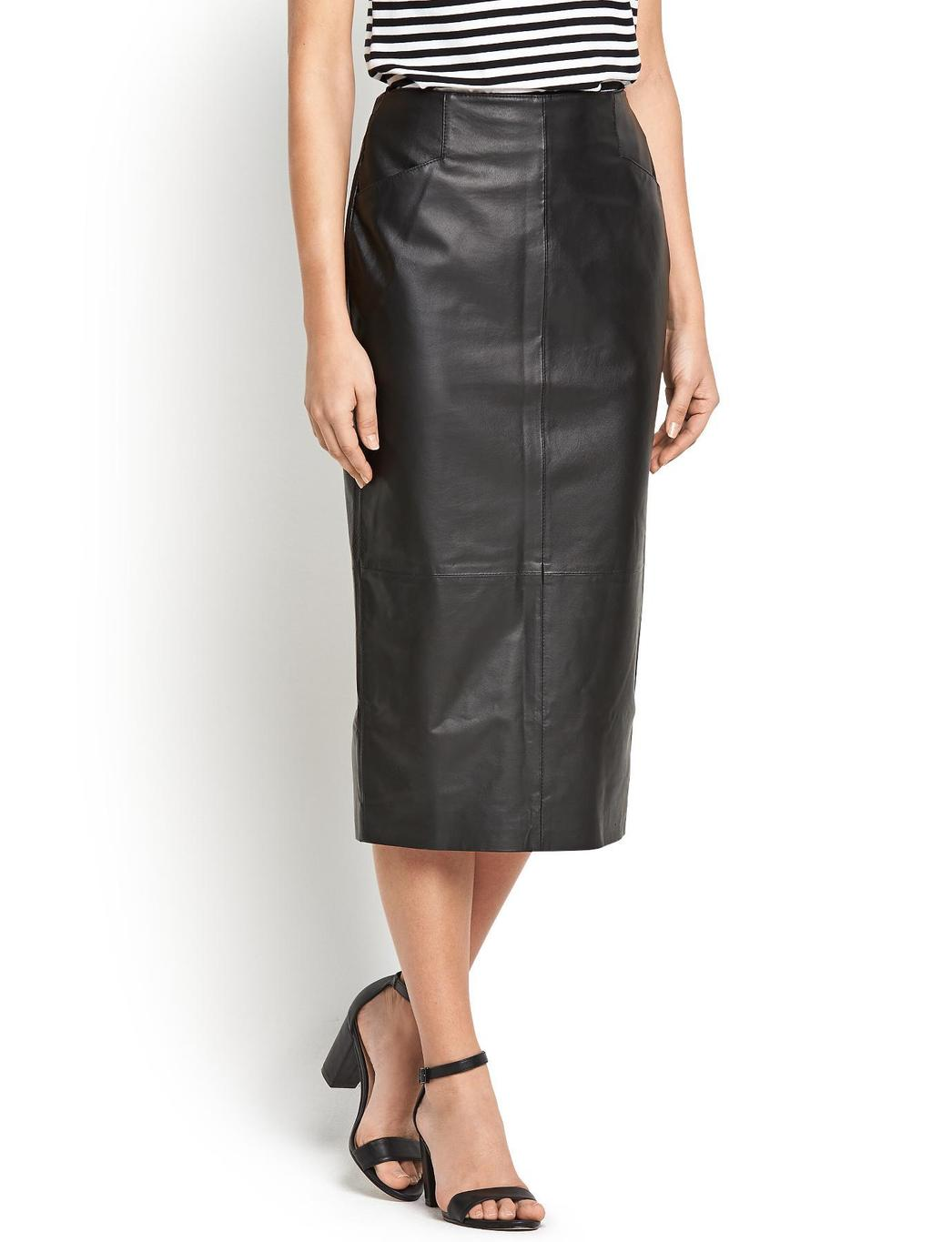 Leather Pencil Skirt, Black - length: below the knee; pattern: plain; style: pencil; fit: tailored/fitted; waist: high rise; predominant colour: black; occasions: casual, evening, creative work; fibres: leather - 100%; texture group: leather; pattern type: fabric; season: s/s 2014