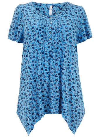 Blue Floral Pintuck Top - neckline: round neck; length: below the bottom; predominant colour: diva blue; secondary colour: black; occasions: casual, creative work; style: top; fibres: viscose/rayon - 100%; fit: loose; hip detail: subtle/flattering hip detail; sleeve length: short sleeve; sleeve style: standard; pattern type: fabric; pattern: florals; texture group: jersey - stretchy/drapey; season: s/s 2014; pattern size: big & busy (top)
