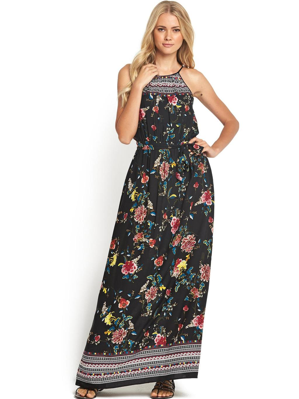 Aztec Floral Halter Maxi Dress - fit: fitted at waist; sleeve style: sleeveless; style: maxi dress; waist detail: belted waist/tie at waist/drawstring; occasions: casual, evening; length: floor length; fibres: viscose/rayon - 100%; neckline: crew; predominant colour: multicoloured; sleeve length: sleeveless; pattern type: fabric; pattern size: standard; pattern: florals; texture group: other - light to midweight; season: s/s 2014; multicoloured: multicoloured