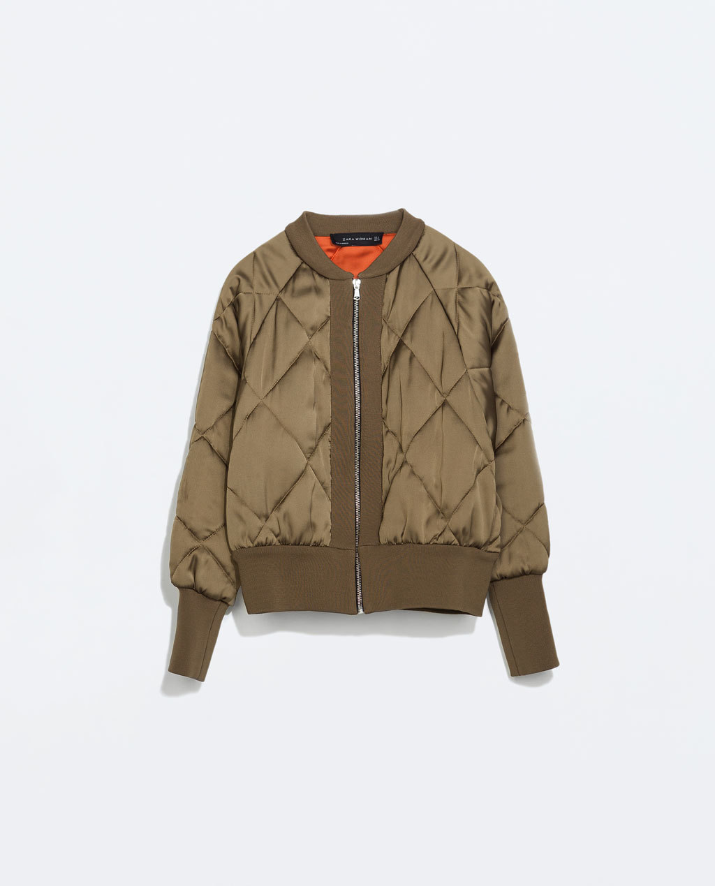 Short Padded Bomber Jacket - pattern: plain; collar: round collar/collarless; style: bomber; predominant colour: khaki; occasions: casual, creative work; length: standard; fit: straight cut (boxy); fibres: polyester/polyamide - 100%; sleeve length: long sleeve; sleeve style: standard; collar break: high; pattern type: fabric; texture group: other - bulky/heavy; embellishment: quilted; season: s/s 2014; trends: outerwear chic