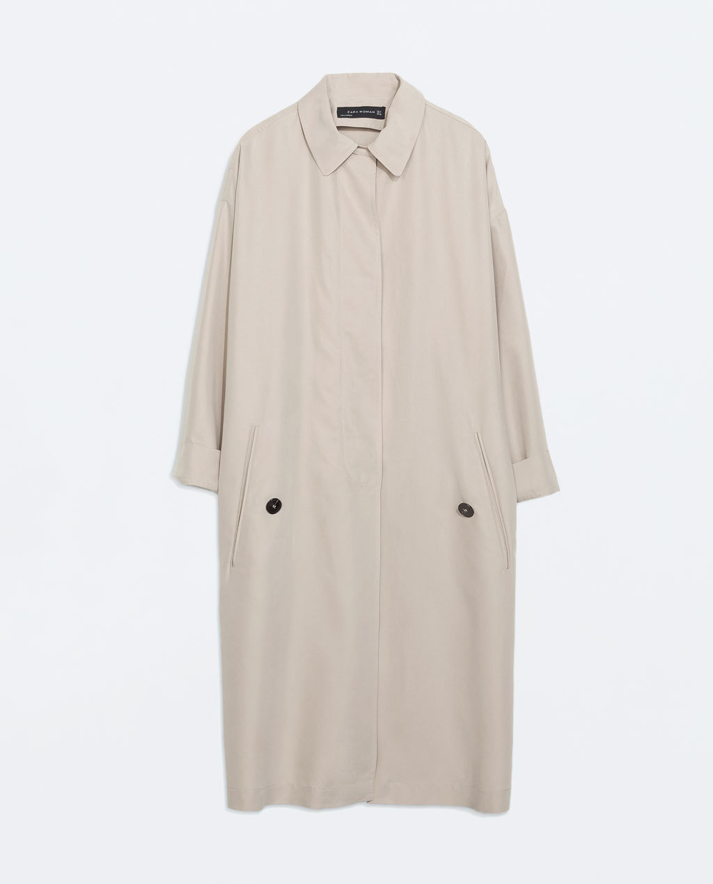 Loose Fit Trench Coat - pattern: plain; length: below the bottom; fit: loose; style: mac; predominant colour: stone; occasions: casual, creative work; fibres: polyester/polyamide - mix; collar: shirt collar/peter pan/zip with opening; sleeve length: long sleeve; sleeve style: standard; collar break: high; pattern type: fabric; texture group: woven light midweight; season: s/s 2014; wardrobe: basic
