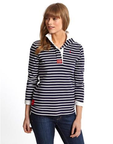 Cowdray Womens Striped Sweatshirt French Navy Stripe - neckline: shirt collar/peter pan/zip with opening; pattern: horizontal stripes; style: sweat top; secondary colour: white; predominant colour: navy; occasions: casual; length: standard; fibres: cotton - stretch; fit: body skimming; sleeve length: long sleeve; sleeve style: standard; pattern type: fabric; pattern size: standard; texture group: jersey - stretchy/drapey; season: s/s 2014
