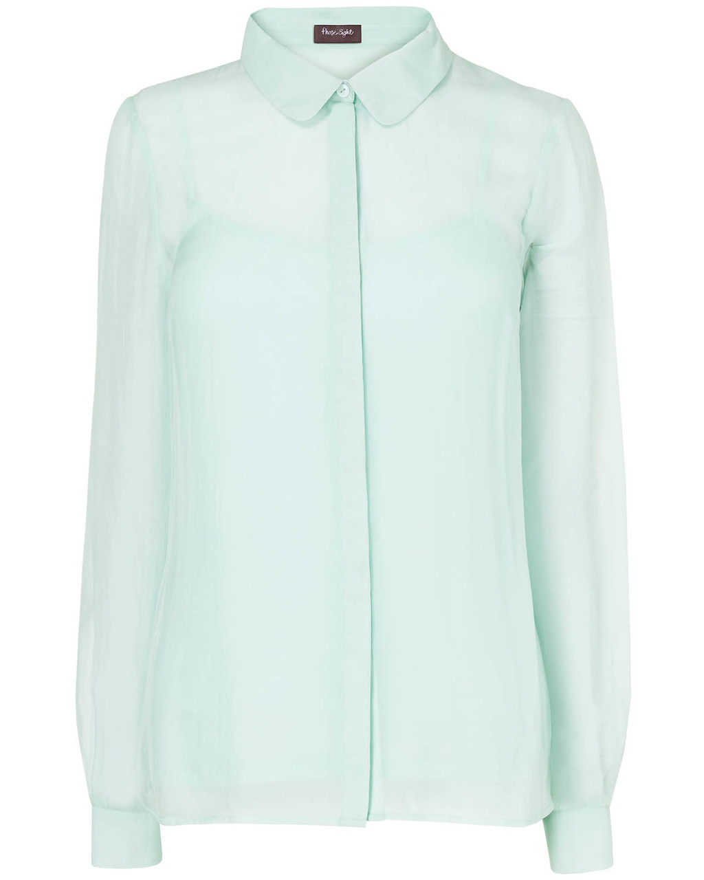 Chiara Silk Blouse - neckline: shirt collar/peter pan/zip with opening; pattern: plain; length: below the bottom; style: blouse; predominant colour: mint green; occasions: casual, work; fibres: silk - 100%; fit: straight cut; sleeve length: long sleeve; sleeve style: standard; texture group: silky - light; season: s/s 2014