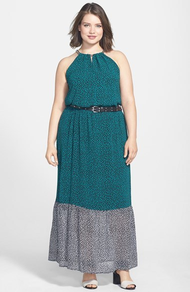 'meadow Max' Chain Neck Belted Maxi Dress (Plus Size) - fit: fitted at waist; sleeve style: sleeveless; style: maxi dress; neckline: low halter neck; waist detail: belted waist/tie at waist/drawstring; predominant colour: teal; secondary colour: black; occasions: casual, evening; length: floor length; fibres: polyester/polyamide - 100%; back detail: keyhole/peephole detail at back; sleeve length: sleeveless; pattern type: fabric; pattern size: standard; pattern: patterned/print; texture group: woven light midweight; embellishment: chain/metal; season: s/s 2014; wardrobe: highlight; embellishment location: neck