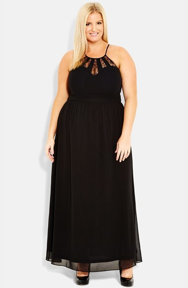 'lace Splice' Maxi Dress (Plus Size) - pattern: plain; sleeve style: sleeveless; style: maxi dress; bust detail: sheer at bust; neckline: low halter neck; predominant colour: black; occasions: evening, occasion; length: floor length; fit: fitted at waist & bust; fibres: polyester/polyamide - 100%; sleeve length: sleeveless; texture group: sheer fabrics/chiffon/organza etc.; pattern type: fabric; embellishment: lace; season: s/s 2014; wardrobe: event; embellishment location: bust