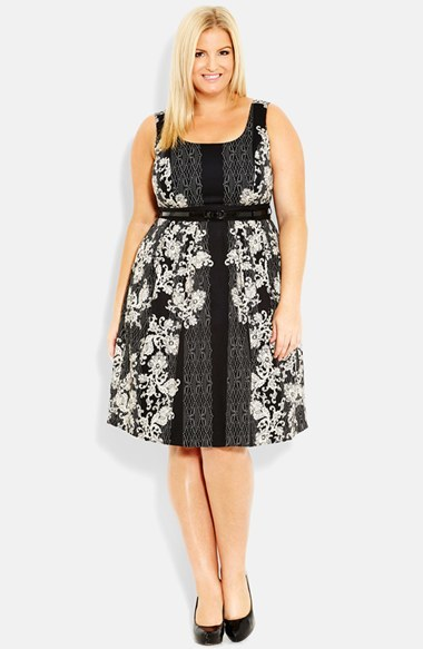 'vintage Lace' Belted Print Dress (Plus Size) - sleeve style: standard vest straps/shoulder straps; back detail: back revealing; waist detail: belted waist/tie at waist/drawstring; secondary colour: white; predominant colour: black; occasions: evening, occasion; length: on the knee; fit: fitted at waist & bust; style: fit & flare; neckline: scoop; fibres: cotton - stretch; sleeve length: sleeveless; pattern type: fabric; pattern size: big & busy; pattern: patterned/print; texture group: other - light to midweight; season: s/s 2014