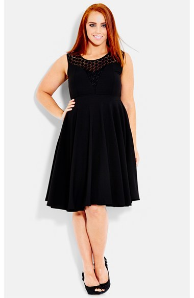 Crochet Yoke Fit & Flare Dress (Plus Size) - neckline: round neck; pattern: plain; sleeve style: sleeveless; shoulder detail: contrast pattern/fabric at shoulder; predominant colour: black; secondary colour: black; occasions: evening, work, creative work; length: on the knee; fit: fitted at waist & bust; style: fit & flare; fibres: polyester/polyamide - stretch; hip detail: soft pleats at hip/draping at hip/flared at hip; bust detail: contrast pattern/fabric/detail at bust; sleeve length: sleeveless; pattern type: fabric; texture group: jersey - stretchy/drapey; embellishment: lace; season: s/s 2014