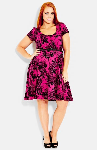 Flocked Fit & Flare Dress (Plus Size) - waist detail: belted waist/tie at waist/drawstring; predominant colour: hot pink; secondary colour: black; occasions: evening, occasion; length: just above the knee; fit: fitted at waist & bust; style: fit & flare; neckline: scoop; hip detail: subtle/flattering hip detail; sleeve length: short sleeve; sleeve style: standard; pattern type: fabric; pattern size: big & busy; pattern: patterned/print; texture group: jersey - stretchy/drapey; fibres: viscose/rayon - mix; season: s/s 2014