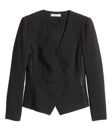 Textured Jacket - pattern: plain; style: double breasted blazer; collar: round collar/collarless; predominant colour: black; occasions: evening, work, creative work; length: standard; fit: tailored/fitted; fibres: polyester/polyamide - 100%; hip detail: contrast fabric/print detail at hip; sleeve length: long sleeve; sleeve style: standard; collar break: low/open; pattern type: fabric; texture group: other - light to midweight; embellishment: lace; season: s/s 2014