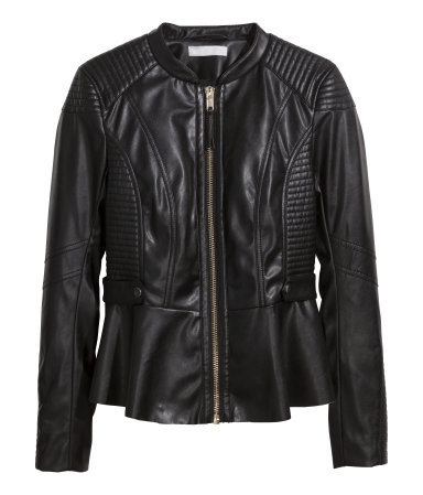 Biker Jacket - pattern: plain; style: biker; collar: standard biker; fit: tight; predominant colour: black; occasions: casual, evening, creative work; length: standard; waist detail: peplum detail at waist; sleeve length: long sleeve; sleeve style: standard; texture group: leather; collar break: high/illusion of break when open; pattern type: fabric; embellishment: quilted; fibres: pvc/polyurethene - 100%; season: s/s 2014; wardrobe: basic; embellishment location: bust, shoulder