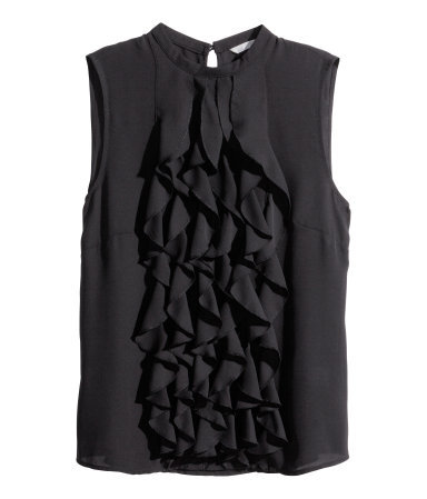 Frilled Blouse - pattern: plain; sleeve style: sleeveless; predominant colour: black; occasions: evening, work, creative work; length: standard; style: top; fibres: polyester/polyamide - 100%; fit: body skimming; neckline: crew; waist detail: adds bulk at the waist; back detail: keyhole/peephole detail at back; sleeve length: sleeveless; texture group: sheer fabrics/chiffon/organza etc.; bust detail: bulky details at bust; pattern type: fabric; season: s/s 2014; wardrobe: highlight