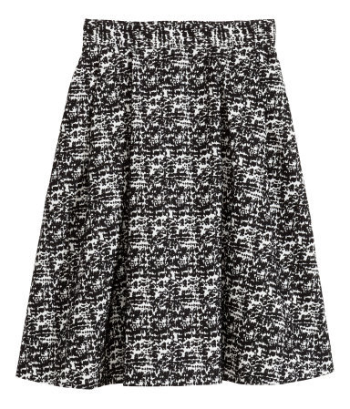 Jacquard Weave Skirt - style: full/prom skirt; fit: loose/voluminous; waist: high rise; secondary colour: white; predominant colour: black; occasions: evening, creative work; length: on the knee; fibres: polyester/polyamide - stretch; hip detail: subtle/flattering hip detail; pattern type: fabric; pattern: patterned/print; texture group: brocade/jacquard; season: s/s 2014; pattern size: standard (bottom)