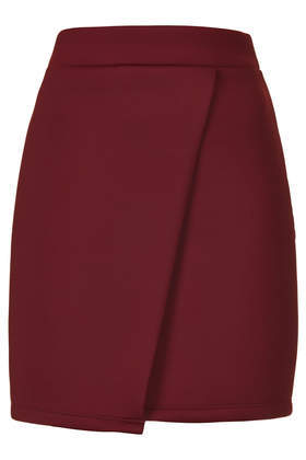 Clean Wrap Scuba Skirt - length: mid thigh; pattern: plain; style: wrap/faux wrap; fit: tailored/fitted; waist: high rise; predominant colour: burgundy; occasions: casual, evening, creative work; fibres: polyester/polyamide - stretch; waist detail: narrow waistband; pattern type: fabric; texture group: other - light to midweight; season: s/s 2014
