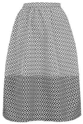 Aztec Mono Lantern Skirt - length: below the knee; fit: loose/voluminous; waist: high rise; secondary colour: white; predominant colour: black; occasions: casual, creative work; style: a-line; fibres: polyester/polyamide - stretch; waist detail: feature waist detail; pattern type: fabric; pattern: patterned/print; texture group: other - light to midweight; season: s/s 2014; pattern size: big & busy (bottom)