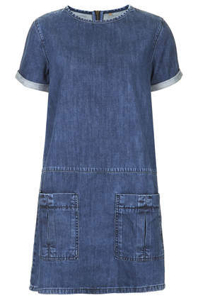 Moto Utility Denim T Shirt Dress - style: t-shirt; length: mid thigh; neckline: round neck; pattern: plain; hip detail: front pockets at hip; predominant colour: denim; occasions: casual, creative work; fit: straight cut; fibres: cotton - 100%; sleeve length: short sleeve; sleeve style: standard; texture group: denim; pattern type: fabric; season: s/s 2014