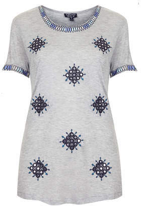 Folk Mirror Tee - neckline: round neck; length: below the bottom; style: t-shirt; secondary colour: navy; predominant colour: light grey; occasions: casual, creative work; fibres: viscose/rayon - 100%; fit: body skimming; sleeve length: short sleeve; sleeve style: standard; pattern type: fabric; pattern: patterned/print; texture group: jersey - stretchy/drapey; embellishment: embroidered; season: s/s 2014