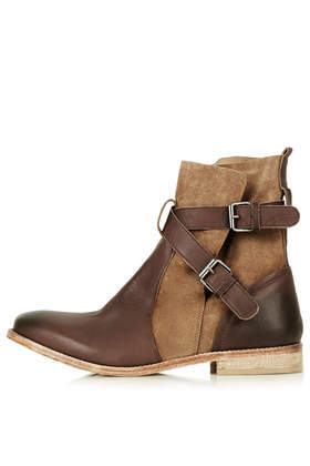 Aye Pirate Boots - secondary colour: chocolate brown; predominant colour: camel; occasions: casual, creative work; material: leather; heel height: flat; embellishment: buckles; heel: block; toe: round toe; boot length: ankle boot; style: standard; finish: plain; pattern: colourblock; season: s/s 2014